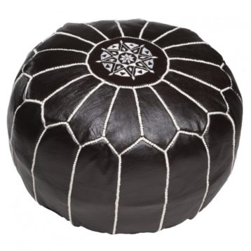 Moroccan leather pouf BLACK