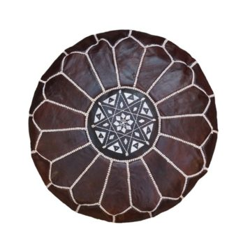 Moroccan leather pouf BROWN
