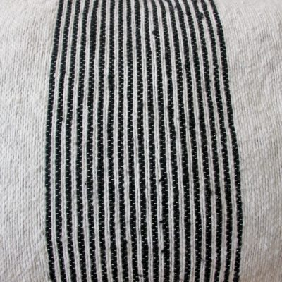 White striped pompom cushion