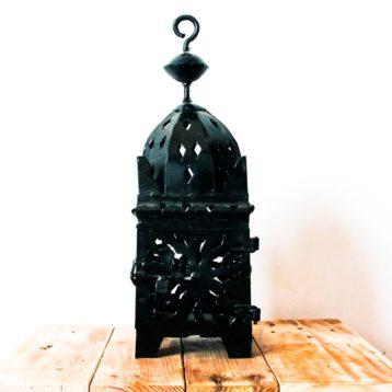 Marokkanische Laterne aus schwarzem Metall