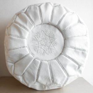 Weißer marokkanischer Leder-Pouf WHITE