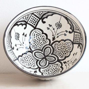 Marokkanische Schüssel ORIENT in schwarz weiß