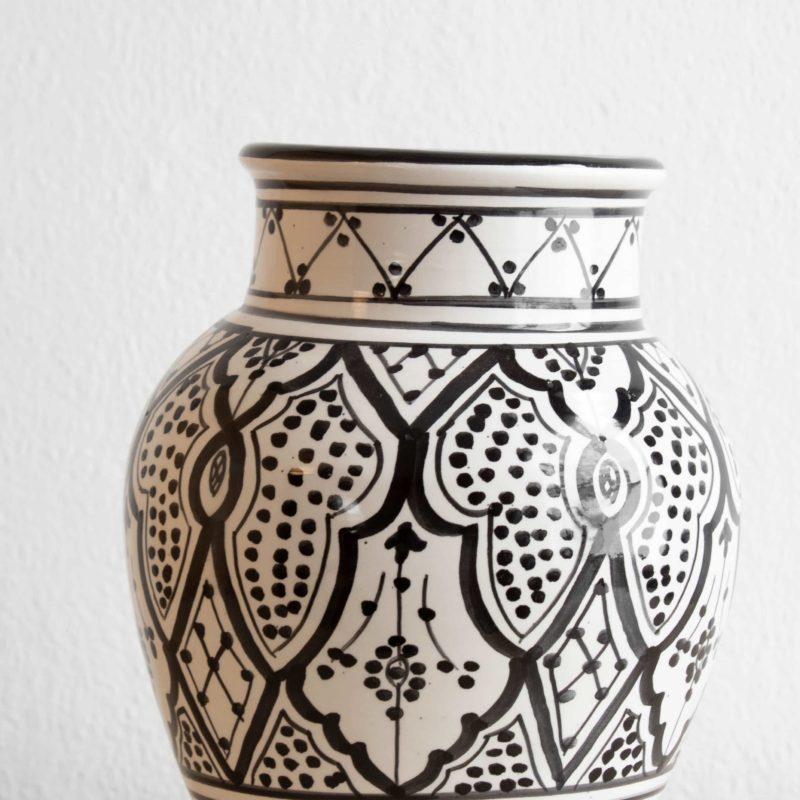 Marokkanische Vase WARDA in schwarz weiß