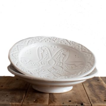 Moroccan plate WHITE with engraved ornaments