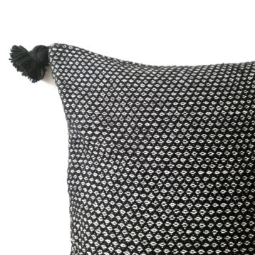 Black pompom cushion