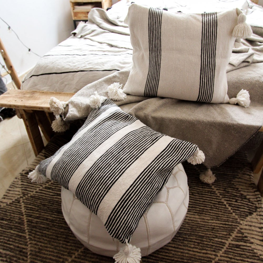 Hand woven Moroccan cushions in black and white