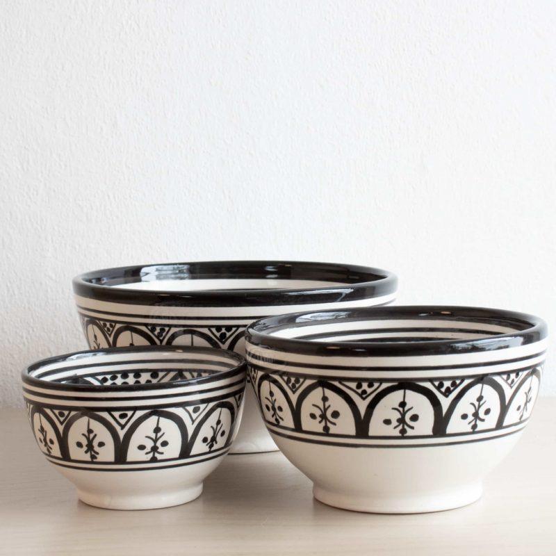 Marokkanische Schale SAFI in schwarz weiß