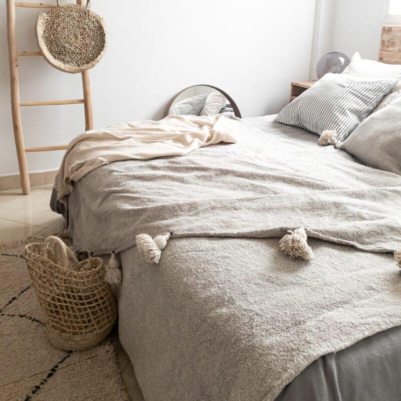 Beige Pompom Tagesdecke aus Baumwolle