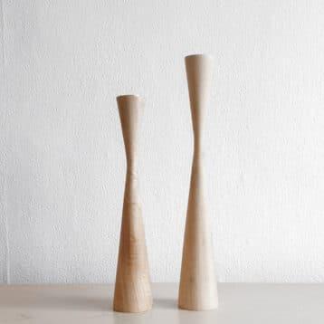Kinta - Kerzenhalter Set WOOD aus hellem Holz (2)