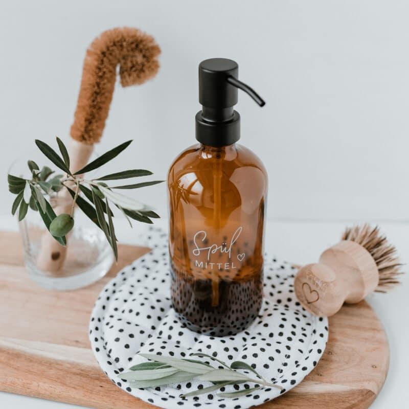 Eulenschnitt - Seifenspender für Spülmittel aus Braunglas