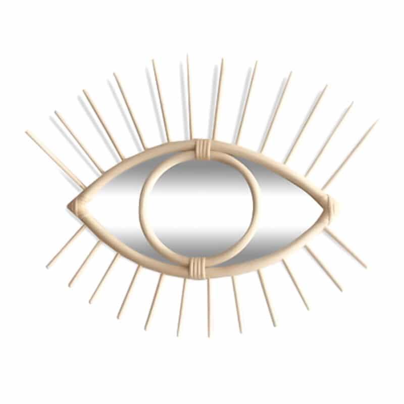 Wandspiegel Auge aus Rattan